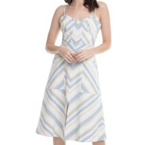 ASTR Revolve Anouk Striped Linen Midi Dress S
